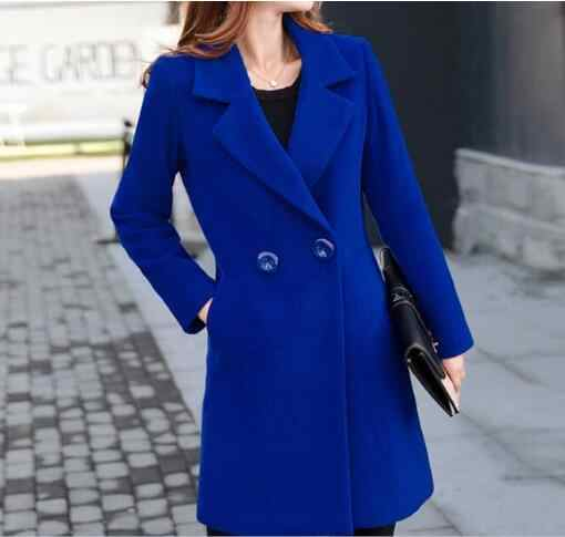 Plus Size 5XL  Double Breasted Blue red Long Jacket Female Coats Blazer Feminino Long Sleeve  Women Suit Jackets Office Blazers