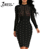 INDRESSME 2018 Women Black Long Sleeve Studded Bandage Dress Knee Length Bodycon Dress
