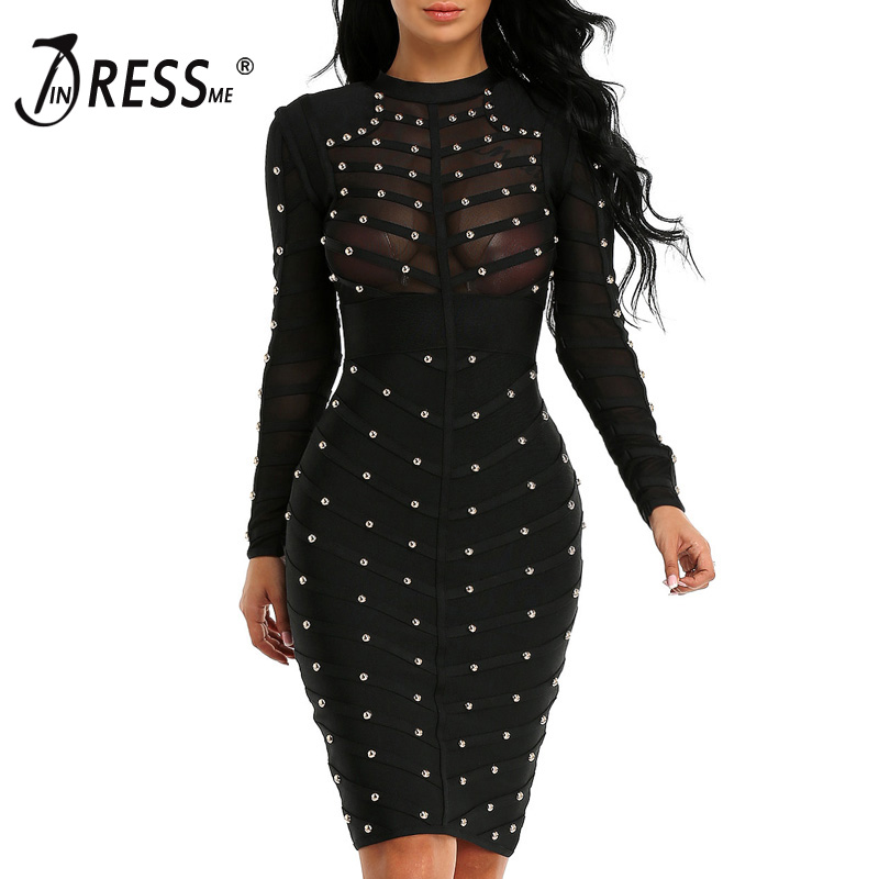 INDRESSME 2019 Women Black Long Sleeve Studded Bandage Dress Knee Length Bodycon Dress