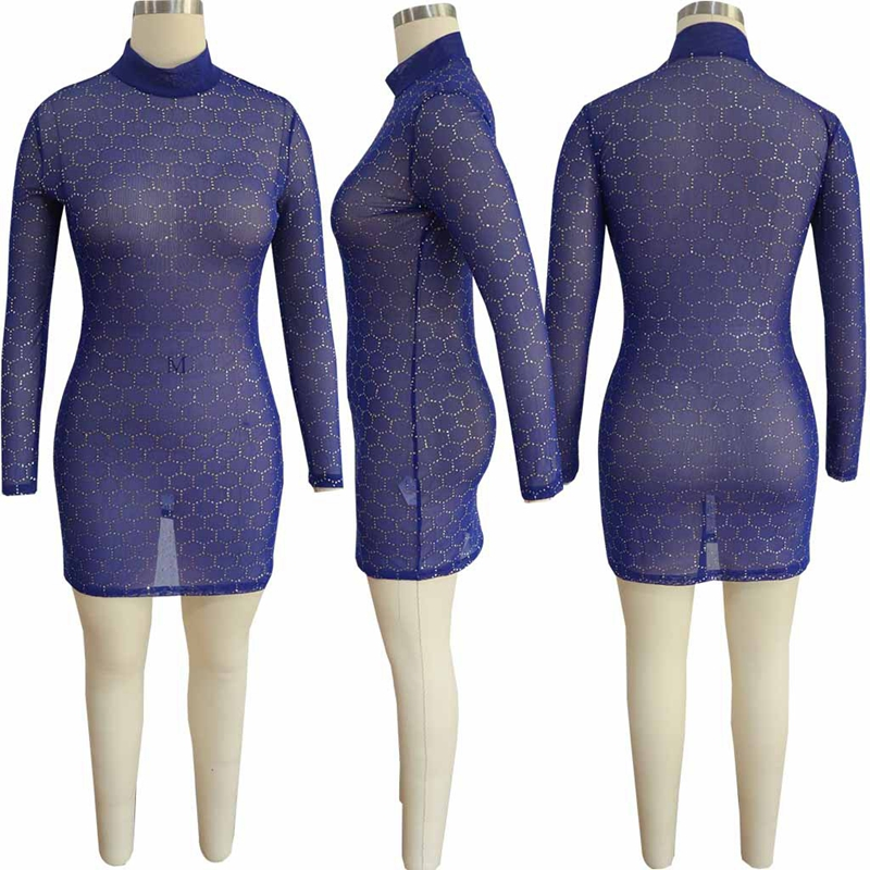 ZJFZML Sequins Sheer Mesh Sexy Bodycon Dress Women Clothing Long Sleeve  Turtleneck Club Party Dress Autumn See Through Mini Robe-in Dresses from  Women s ... 7f59a64767fd
