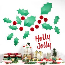 Christmas  3D Wall Stickers Decoration Holly Jolly Mistletoe Leaves Mini Red Honeycomb Balls Ornaments Home Party Supplies DIY