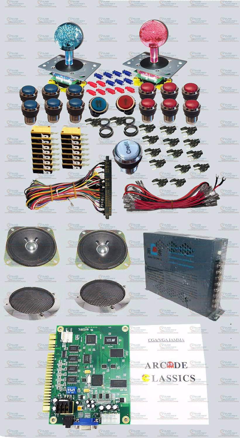 Arcade parts Bundles kit Pandora's Box 4S + plus  illuminated Joystick Silver illuminated buttons Jamma Harness Power supply LED arcade parts bundles kit with 60 in 1 board power supply joystick push button microswitch harness glass clips coin door camlock