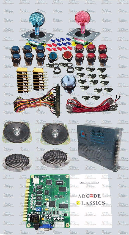 Kit de faisceaux de pièces d'arcade boîte de pandore 4 S + plus manette éclairée boutons lumineux en argent Jamma harnais LED d'alimentation