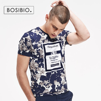 Mens Summer Cotton T Shirts Breathable Flower Funny Print Blue T Shirt O Neck Short Sleeves