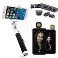 Teléfono de la cámara kit de lentes macro lentes de gran angular ojo de pez lente ojo de pez clip selfie stick monopod wired flash luz de relleno