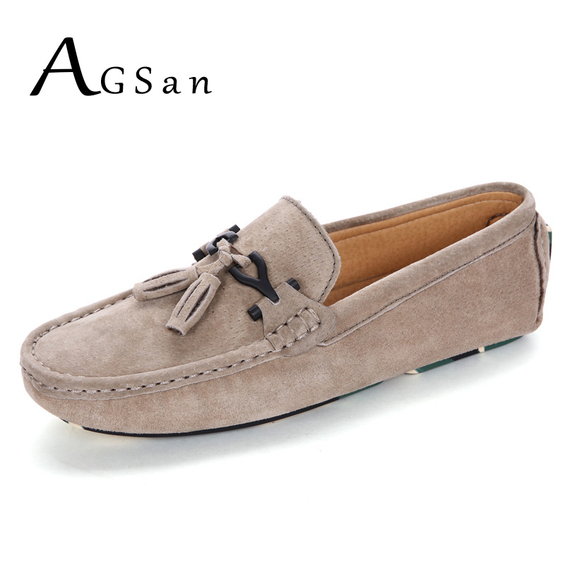 AGSan mens loafers suede leather tassel moccasins shoes khaki black grey slip on business driving shoes size 38-46 10.5 10 9.5 9 black suede loafers for male plus size 38 47 casual mens footwear driving flats loafers suede leather flats slip on shoes mens