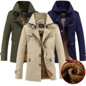 2018 New Arrival Winter Male Jacket Men Parka Windbreaker Jacket Coat fashion Cardigan turn-down collar trench coat Casual 5XL
