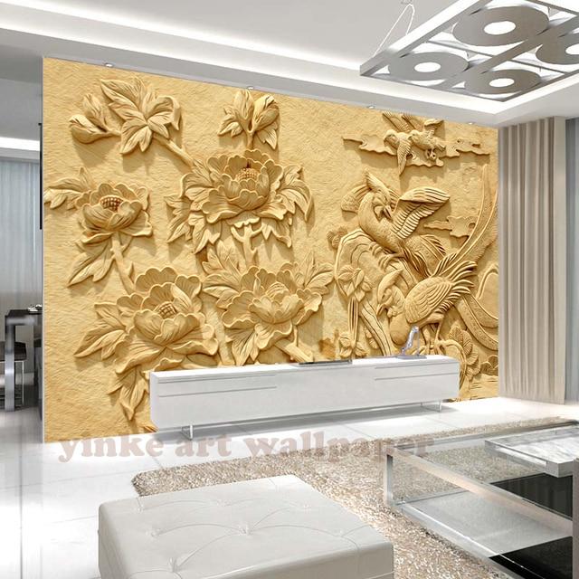 3D Photo Wallpaper Modern Fashion Simple relief flower wallpaper ...