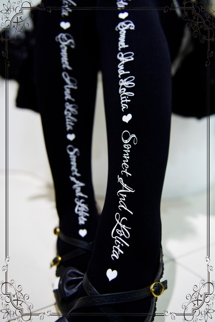 Princess sweet lolita pantyhose  Vintage black and white letters pattern Sonnet English poem Japanese print pantyhose