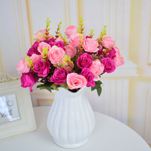 Artificial small roses Bouquets for homes Wedding table Christmas ...