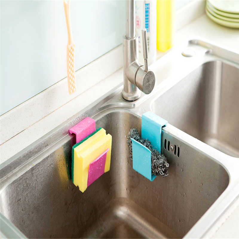 Image 2 - Kitchen Storage Rack Towel Soap Dish Holder Kitchen Bathroom Sink Dish Sponge Storage shelf Holder Rack Robe Hooks Sucker-in Racks & Holders from Home & Garden