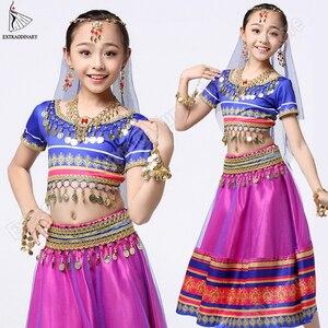Image 5 - 子供ベリー衣装セット子供インドサリー衣装スカートステージパフォーマンス (帽子ベールトップベルトスカート)