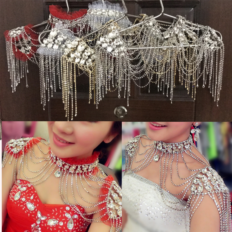 Rhinestone Crystal Handmade Bridal Shoulder Necklace Gold Silver Women Pageant Prom Wedding Shoulder Jewelry Chain Necklaces
