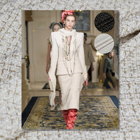 Pearlsilk style black white gold thread tweed 100%polyster Autumn jacket DIY clothes fabrics