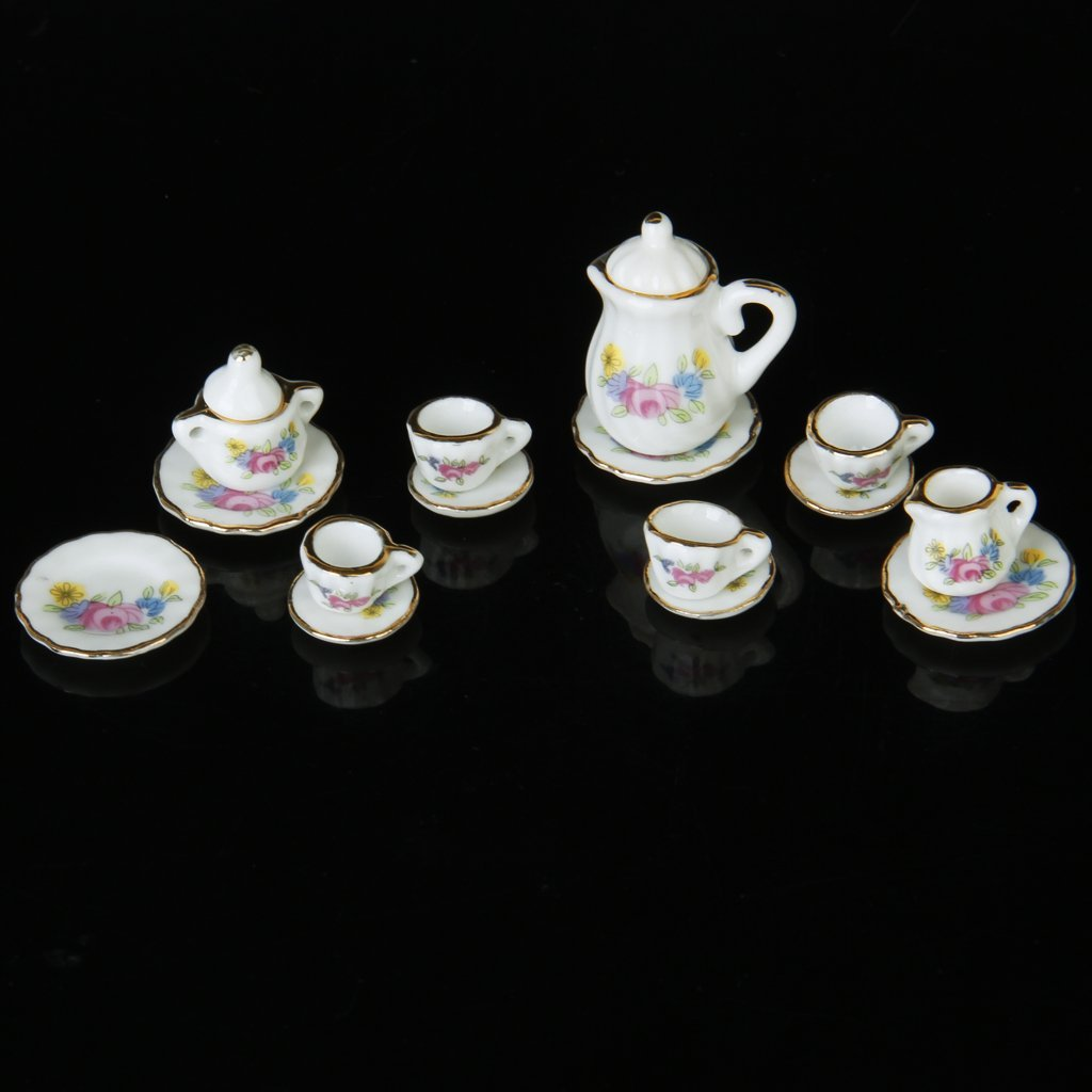 Lgfm-15 Piece Miniature Dollhouse Dinnerware Porcelain Tea Set Tableware Mug Plate With Floral Pattern Campcookingsupplies Camping & Hiking