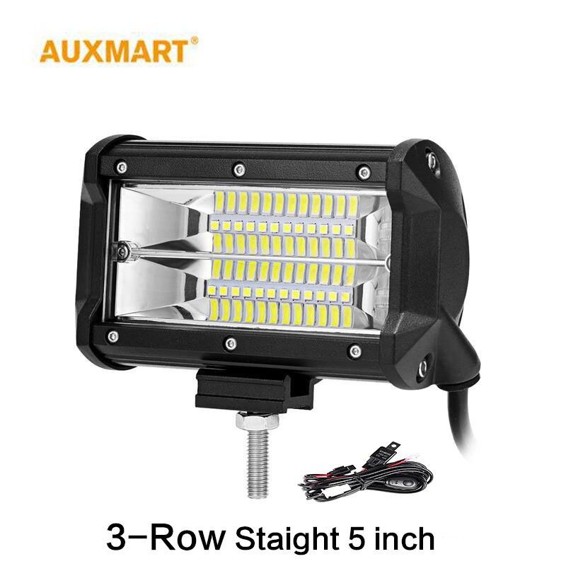 Auxmart 72W 5inch Flood LED Work Light 12V 24V 6000K 1pc Led Car Lamp For Auto