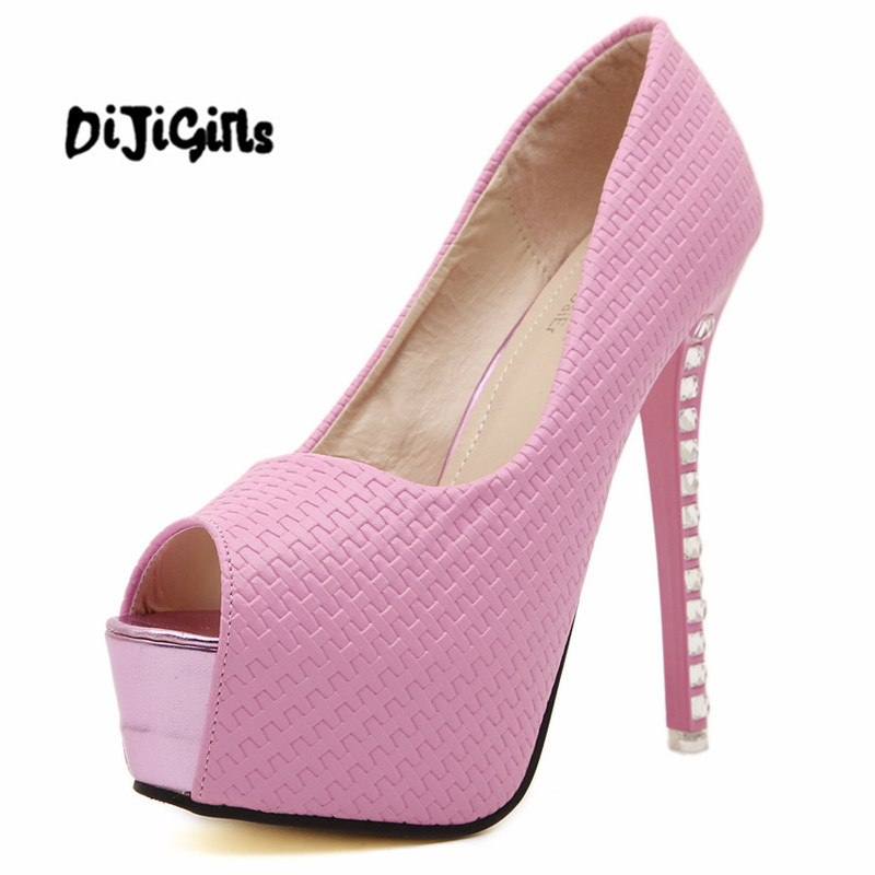 Ladies high heels sexy Rhinestones heel Women's shoes vogue party peep toe platform high heels pumps wedding shoes black white meotina women wedding shoes 2018 spring platform high heels shoes pumps peep toe bow white slip on sexy shoes ladies size 34 43