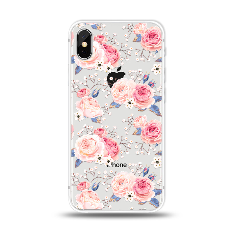 KIPX1027D_1_JONSNOW For iPhone 7 Flowers Pattern Soft Case For iPhone 6 6S 7 8 Plus Clear Back Cover for iPhone 5 5S SE Capa Coque Fundas