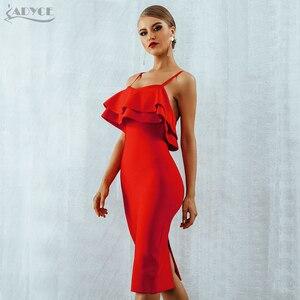 Image 4 - Adyce Summer Women Bodycon Red Bandage Dress Sexy Spaghetti Strap Strapless Ruffles Midi Celebrity Evening Party Dress Vestidos