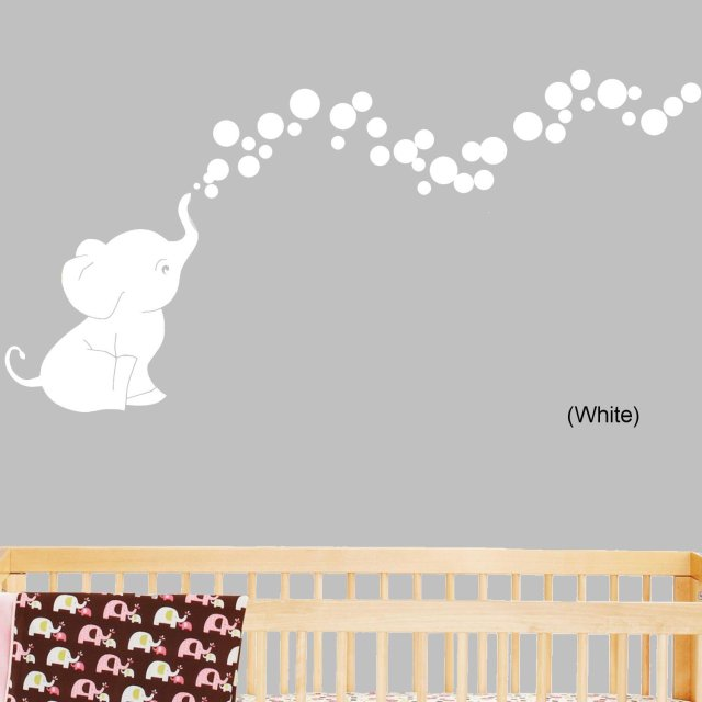 Qt039 elephant bubbles nursery wall decal set vinyl wall for Funny elephant wall decals for nursery