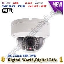 DS-2CD2155F-IWS 5MP IP Камера POE Аудио Интерфейс Сигнализации H.265 Купольная камера Камера ВИДЕОНАБЛЮДЕНИЯ WI-FI onvif 30 М ИК Wireless security камера