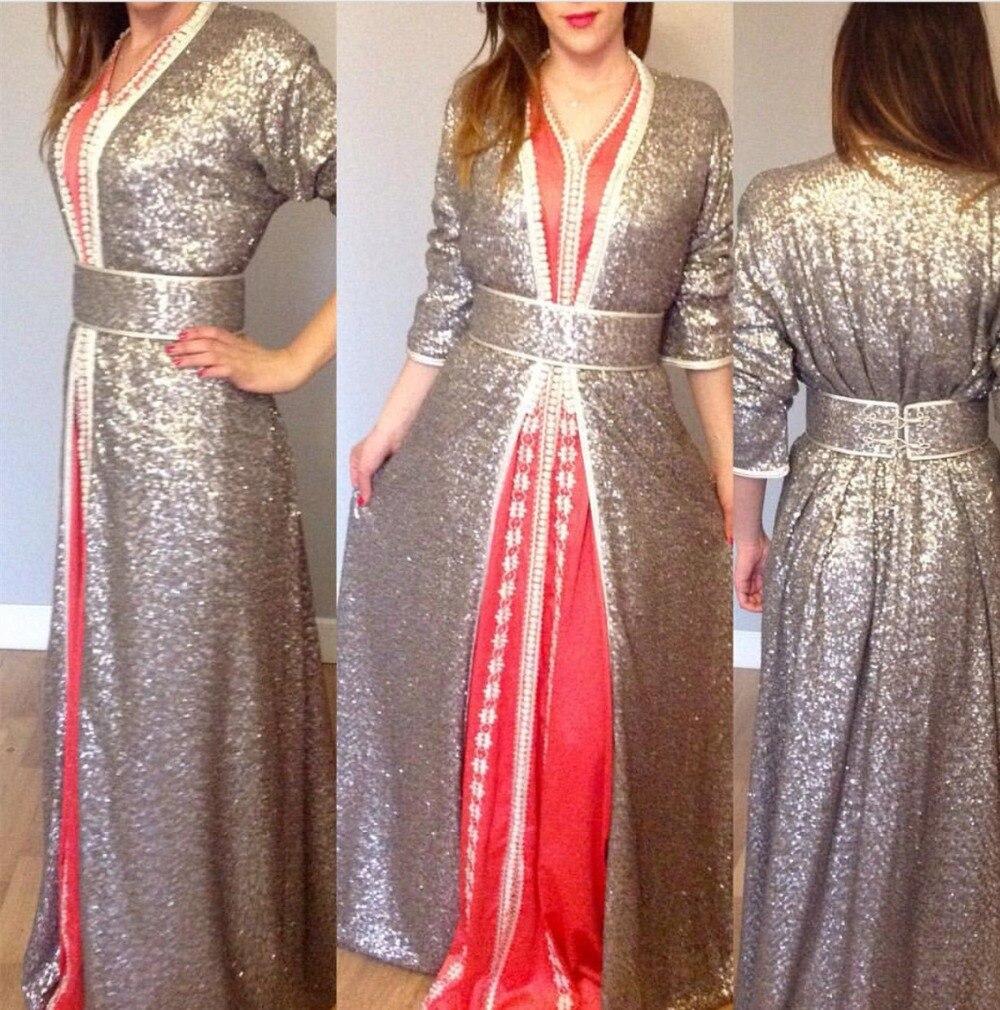 Sparkling Sliver Sequins Moroccan Kaftan Dress Muslim