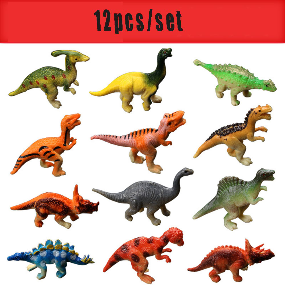 12pcs/lot Dinosaur Plastic Jurassic Park Dinosaur Kids Toy Model Action & Figures T-REX DINOSAUR Toys For Children Friends With