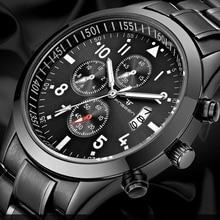 2018 Moda Preto Relógio De Pulso Dos Homens Top Marca de Luxo Famoso Relógio Masculino Data Relógio de Quartzo Completa Aço Relógio de Pulso Relogio masculino