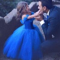 2018 summer Princess Cinderella dress Girls baby Ball Gown Party dresses children clothe princess Blue long Pearls dress wedding