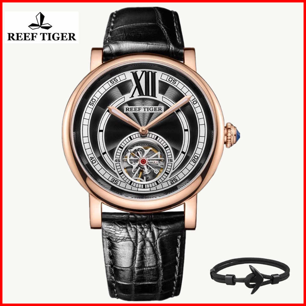 Reef Tiger/RT Luxury Casual Watch Men Fashion Leather Tourbillon Automatic Waterproof Watches Relogio Masculino RGA192+gift