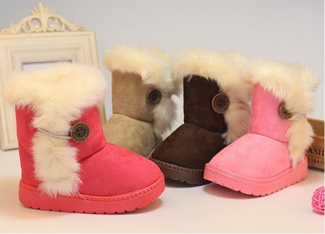 Бесплатная доставка! Размеры: 21-35 Новая модная обувь для девочек зимние сапоги на меху для мальчиков и девочек Утепленная обувь зимние сапог...