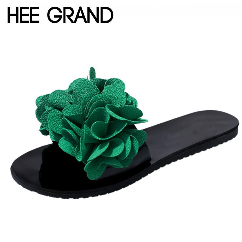 HEE GRAND Flower Flat with Summer Platform Shoes Woman Slip On Gladiator Slides 4 Colors Size 35-40 Women Shoes XWT1062 hee grand summer gladiator sandals 2017 new platform flip flops flowers flats casual slip on shoes flat woman size 35 41 xwz3651