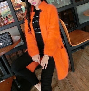 Image 2 - 2020 100% Pure Mink Cashmere Long Coat Lady Fashion Real Mink Cashmere Nature Fur Jacket Wholesale OEM Sweater DFP941