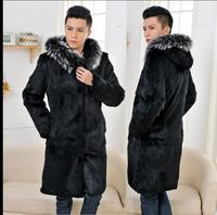 2018 Men Hooded Casual Long Section Faux Fur Coats Large Size Male Fake Mink Fur Jackets