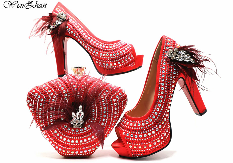 Hot Selling To Match Italian High Heel Shoe and Bag Sets Beautiful Red Color Women Shoe and Bag Sets For Wedding Party E812-26