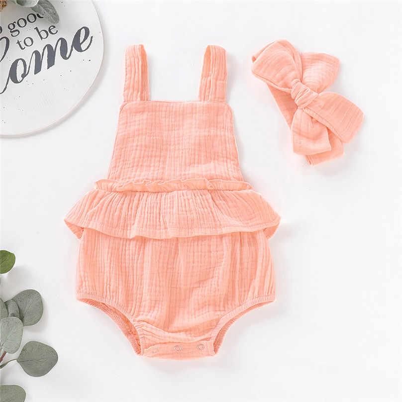 Новинка 2019 года; брендовый комбинезон для новорожденных и маленьких девочек с рюшами и короткими рукавами; Однотонный хлопковый комбинезон с открытой спиной и поясом; L13