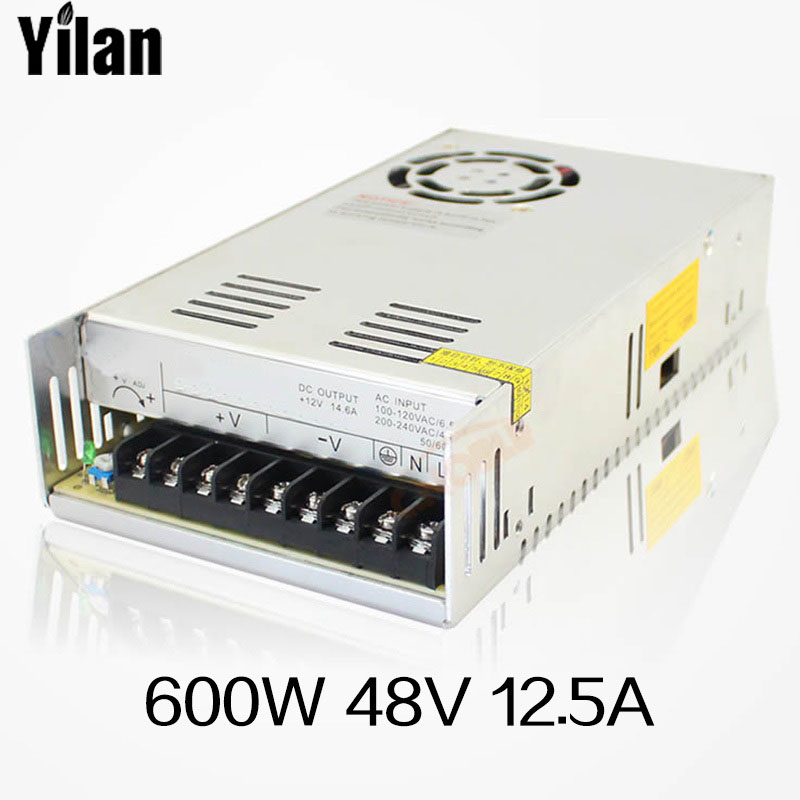 led Switching power supply 600W 48v 12.5A ac dc converter Input 110v or 220V S-600w 48v variable dc led strip transformer ac 110 220v dc 48v power supply 48v 12 5a 600w ac dc high power psu 600w s 600 48