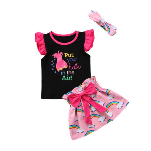 6508ccf79 3PCS Kids Toddler Baby Girl Beach Outfit Clothes Print Vest Tops T ...