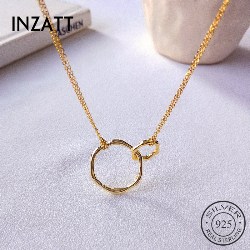 INZATT Real 925 Sterling Silver Geometric Round Pendant Necklace For Fashion Women Party Fine Jewelry Minimalist Accessories