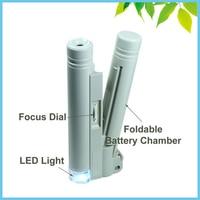 100X microscópio de bolso LED Illuminanted Magnifier Lupa Handheld microscópio de medição Gafas Lupa 1 DIV / 0.02 mm