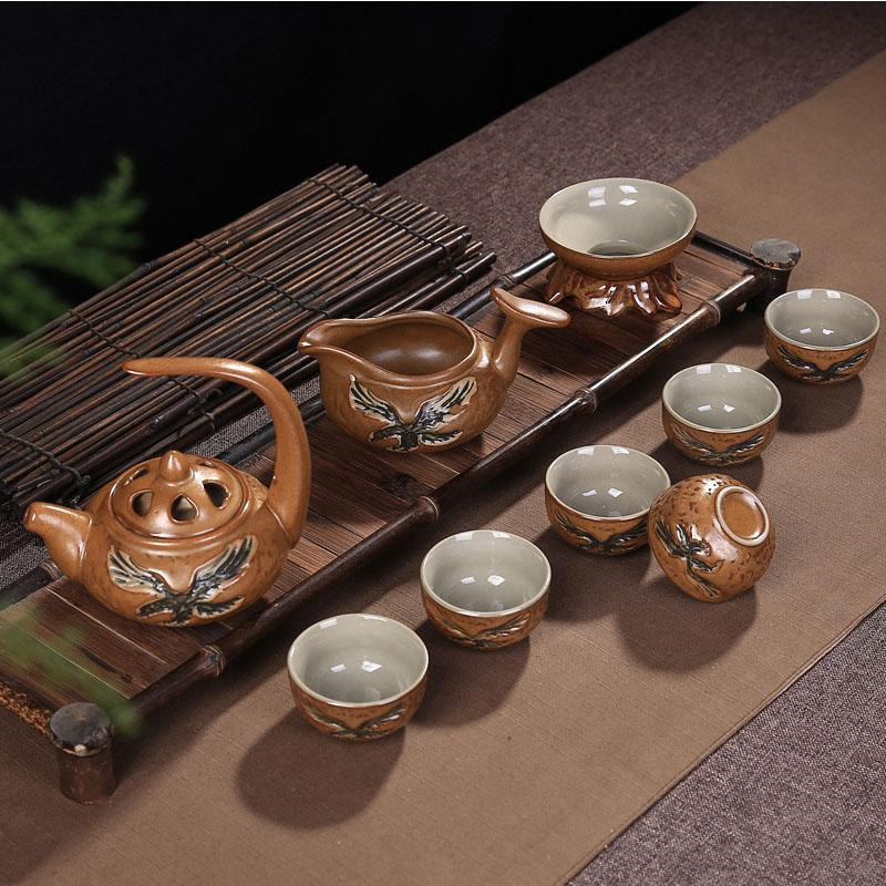 Retro Chinese Kungfu Tea Set Ceramic Celadon Teaware Set Traditions Gai Wan Tea Cup Bone China Tea Sets Gaiwan Tea Pot Set Gift