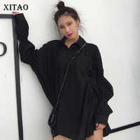 [XITAO] Irregular Fashion New Women Single Breasted Turn down Collar Full Sleeve Top Female Solid Color Casual Blouse ZLL2790