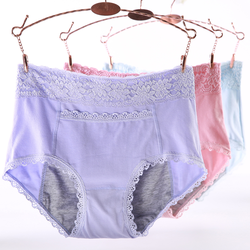 Large Size High Waist Period   Panties   For Women With Pocket Menstruation Briefs Cotton Leak Proof Lace Plus Size Female Underwear