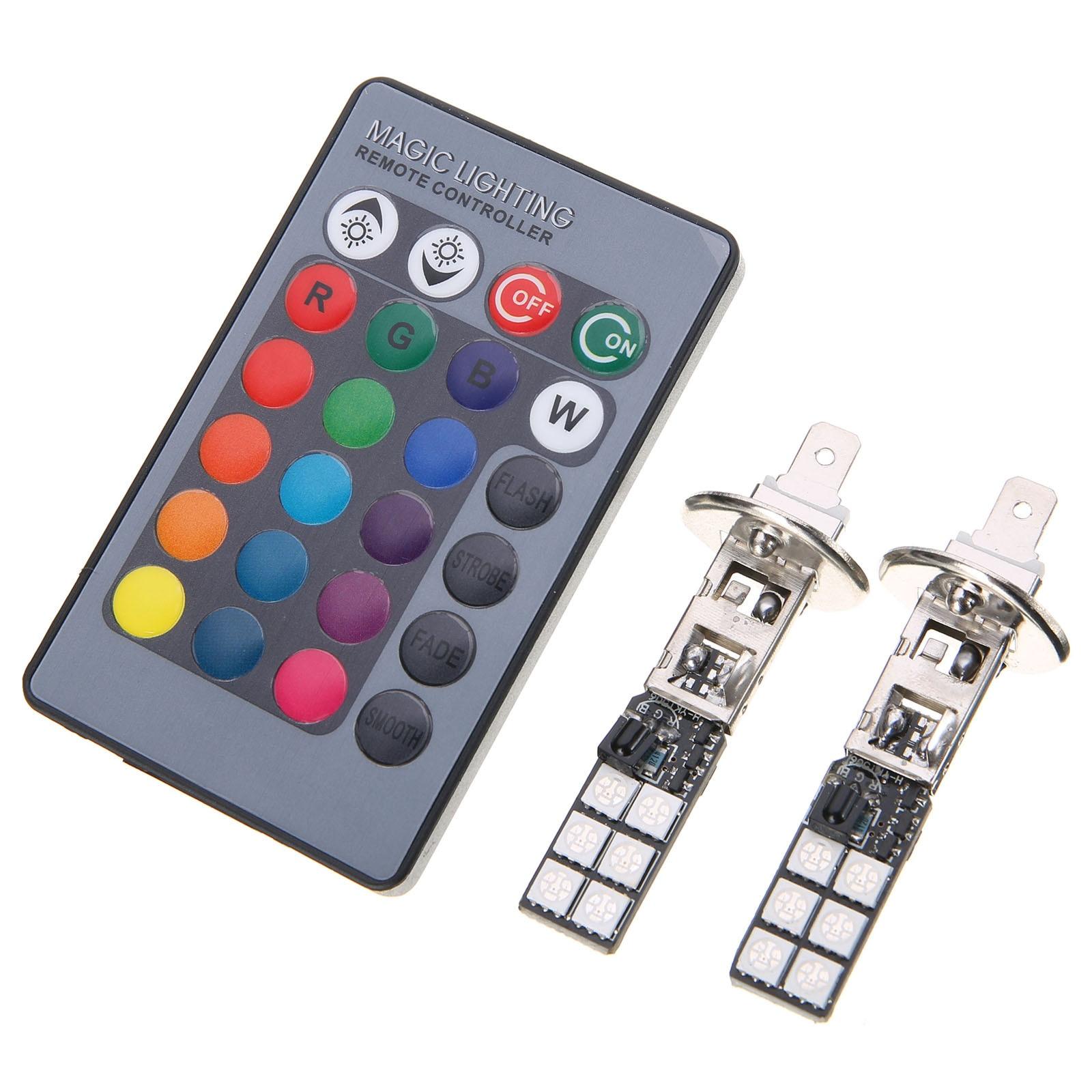 2PCS Colorful RGB H1 LED Fog Light 5050 12SMD LED Car DRL Driving Light Tail Turn SignalBrake Lamp + Wireless Remote Control