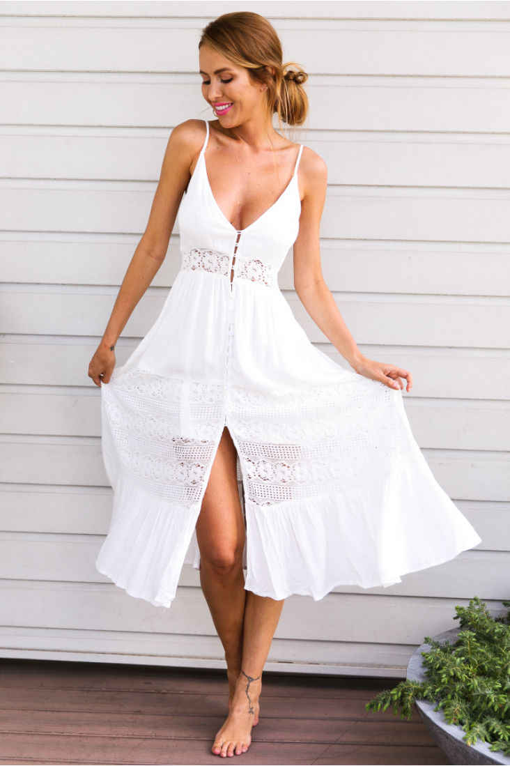 6b7152a5c8103 Detail Feedback Questions about Women Maxi Summer BOHO Lace Beach Long Dress  V Neck Sexy White Dresses Ladies Evening Party Sundress on Aliexpress.com  ...