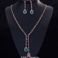 Cwwzircons美しい緑と赤czストーンジュエリー4葉ロングドロップパーティーネックレスイヤリングセット用女性t225