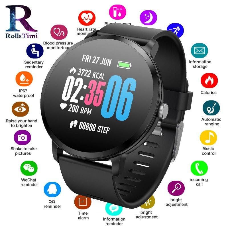RollsTimi montres intelligentes hommes étanche sport bracelet intelligent Fitness Tracker Calories moniteur de pression artérielle relogio masculino