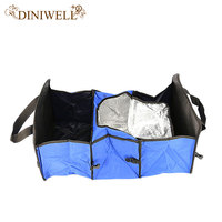 Foldable Multi Compartment Fabric Car Truck Van SUV Storage Basket Trunk Organizer And Cooler Set Three