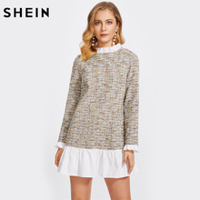 SHEIN Multicolor Frill Detail 2 In 1 Tweed Dress Color Block Long Sleeve Dresses Cut Out Back Straight Elegant Dress