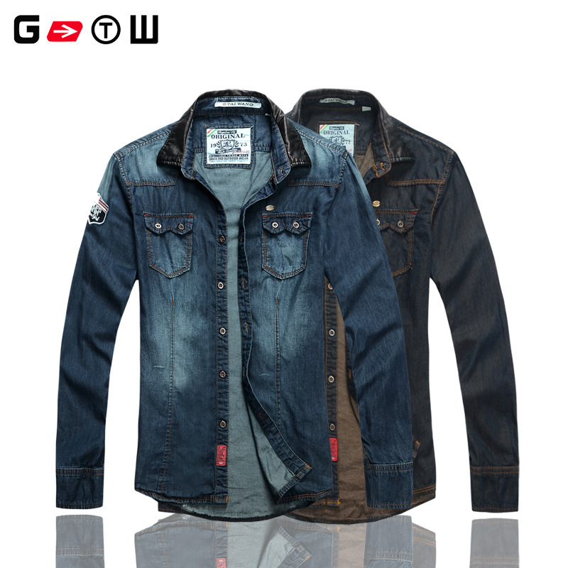 Gtw Brand Men Fashion Designer Men 39 S Casual Denim Shirts